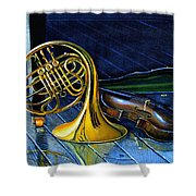 Brass And Strings Shower Curtain