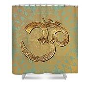 Gold Brass Om Mandala Shower Curtain