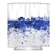 Bratislava Skyline In Blue Watercolor On White Background Shower Curtain