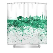 Bratislava Skyline In Gree Watercolor On White Background Shower Curtain