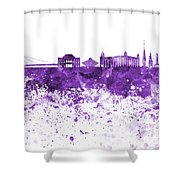 Bratislava Skyline In Purple Watercolor On White Background Shower Curtain