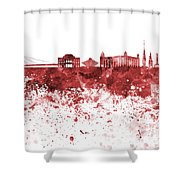 Bratislava Skyline In Red Watercolor On White Background Shower Curtain