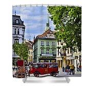 Bratislava Town Square Shower Curtain by Jon Berghoff