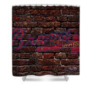 Braves Baseball Graffiti On Brick  Shower Curtain