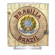 Brazil Coat Of Arms Shower Curtain by Debbie DeWitt
