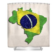Brazil Map Art With Flag Design Shower Curtain