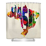 Brazil Typographic Watercolor Map Shower Curtain