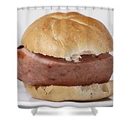 Bread Roll With Thick Slice Leberkaese - German Food Shower Curtain
