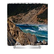 Breakers At Pt Reyes Shower Curtain by Bill Gallagher