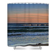 Breakers At Sunset Shower Curtain by Louise Heusinkveld