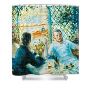 Breakfast By The River Shower Curtain by Pierre-Auguste Renoir