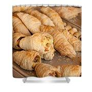 Breakfast Croissant Shower Curtain