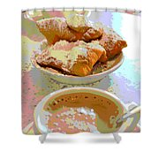 Breakfast Of Champions At Cafe Du Monde Shower Curtain