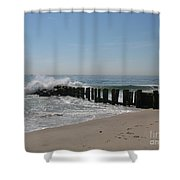Breakwater At New Jersey Shore Shower Curtain