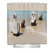 A Unique Breakwater On Martha's Vineyard  Shower Curtain