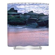 Breakwater Rocks At Sunset Beach Cape May Shower Curtain