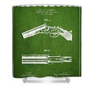 Breech Loading Gun Patent Drawing From 1883 - Green Shower Curtain