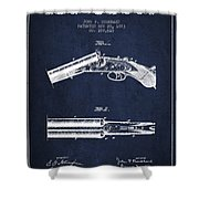Breech Loading Gun Patent Drawing From 1883 - Navy Blue Shower Curtain