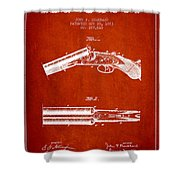 Breech Loading Gun Patent Drawing From 1883 - Red Shower Curtain