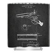 Breech Loading Shotgun Patent Drawing From 1879 - Dark Shower Curtain