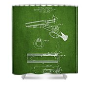 Breech Loading Shotgun Patent Drawing From 1879 - Green Shower Curtain