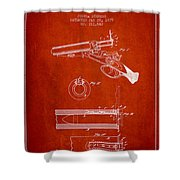 Breech Loading Shotgun Patent Drawing From 1879 - Red Shower Curtain