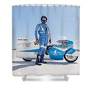 Brett De Stoop And His Suzuki Gt 750 Shower Curtain