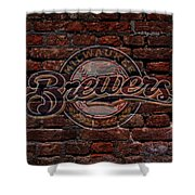 Brewers Baseball Graffiti On Brick  Shower Curtain