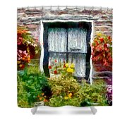Brick And Blooms Shower Curtain