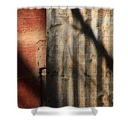Brick And Metal Shower Curtain