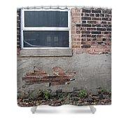 Brick Broken Plaster And Window Shower Curtain
