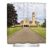 Brick Path To Mt Angel Abbey Church Entrance Shower Curtain