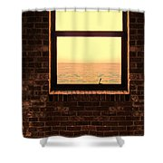 Brick Window Sea View Shower Curtain