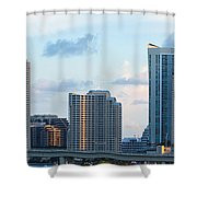 Brickell Key And Miami Skyline Shower Curtain