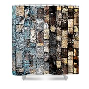 Bricks Of Turquoise And Gold Shower Curtain