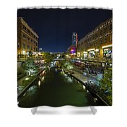 Bricktown Canal Vertical Shower Curtain