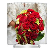 Bridal Bouquet With Red Roses Shower Curtain