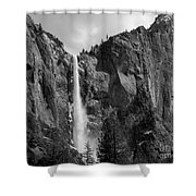 Bridalveil Falls In B And W Shower Curtain by Bill Gallagher