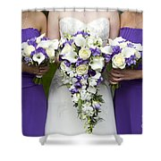 Bride And Bridesmaids With Wedding Bouquets Shower Curtain
