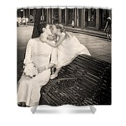 Bride And Daughter Kiss In Jackson Square New Orleans Shower Curtain