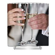 Bride And Groom Champagne Toast Shower Curtain