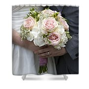 Bride And Groom Hold Wedding Bouquet Shower Curtain
