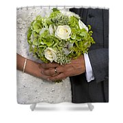 Bride And Groom With Wedding Bouquet Shower Curtain