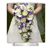 Bride And Wedding Bouquet Shower Curtain