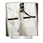 Bride At The Balcony. Black And White Shower Curtain