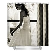 Bride At The Balcony II. Black And White Shower Curtain by Jenny Rainbow