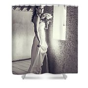 Bride At The Window. Black And White Shower Curtain
