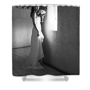 Bride At The Window I. Black And White Shower Curtain