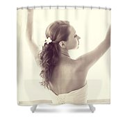 Bride At The Window Shower Curtain by Jenny Rainbow