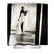 Bride. Black And White Shower Curtain